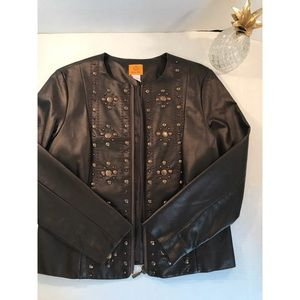 Ruby Rd. Brown/Bronze Leather Jacket- 10