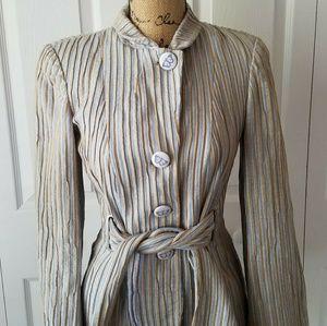 GEORGIO ARMANI blue and tan striped belted blazer