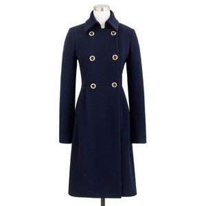 JCrew Navy Double Cloth Greatcoat , Size 4