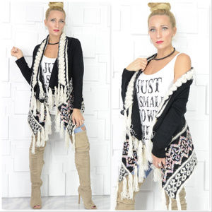 PLAYFUL PRINT FRINGED COZY CARDIGAN