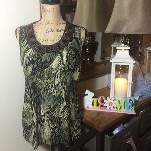 Dress Barn Green Animal Print Sleeveless Top