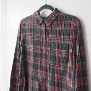 LL Bean Scotch Plaid Flannel Shirt in Grey Stewart