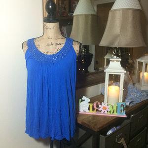 Dress Barn Blue Sleeveless Top