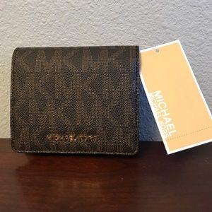 Michael Kors Jet Set cardcase brown leather wallet