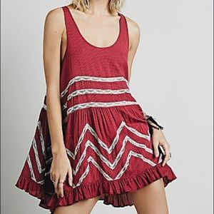 Free People Voile and Lace Trapeze slip Red