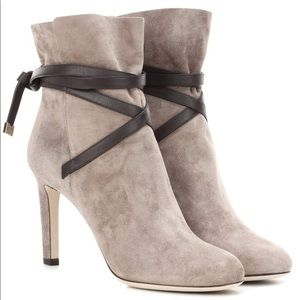 Jimmy Choo Dalal Suede Grey Brown Leather Booties