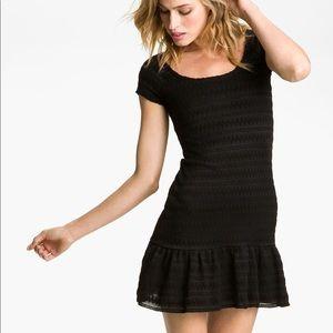 Free People Black Ruffle Drop Waist Dress