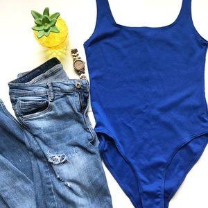 ZARA blue body suit one piece top basic