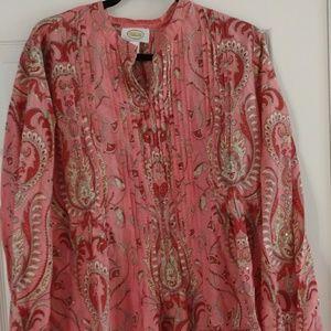 Talbots multi-print blouse