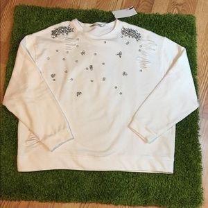 Zara Embellished Sweatshirt NWT!