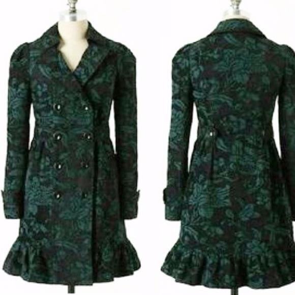 Anthropologie Jackets & Blazers - Elevenses Emerald Isle Brocade Coat