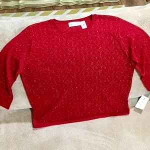 Alfred dunner New Red Top w/ Gold sequence detail