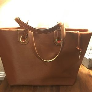 Dooney & Bourke wavy leather grommet shopper tote