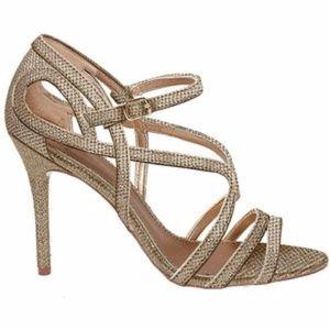 Badgley Mischka Gold Metallic Oval Open-Toe Heels