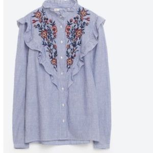 NEW Zara Embroidered Floral Stripe Ruffle Shirt XS