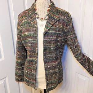 Coldwater Creek Open Front Tweed Jacket Size L