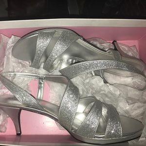 Silver Glitter Shoes Size 11