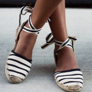 Soludos Striped Lace-Up Espadrilles