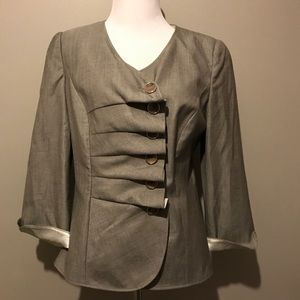 Light Gray Armani Collezioni Ruffled Blazer Jacket