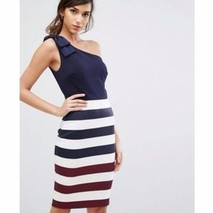 Ted Baker Hilila Stripe Rowing One Shoulder Dress