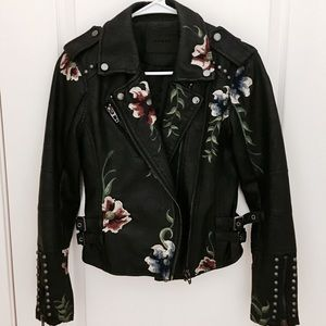 Blank NYC embroidered studded faux leather jacket