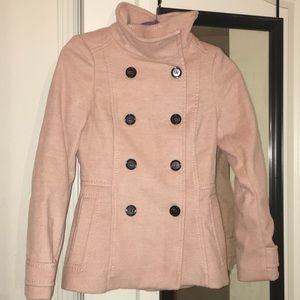H&M Nude Pink Button Up Pea Coat w Satin Lining
