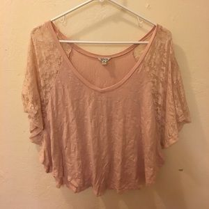 Pink and lace blouse