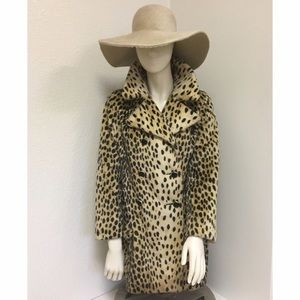 Vintage Faux Fur Leopard Cheetah Animal Print Coat