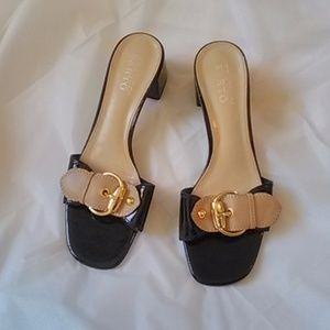 FRANCO SARTO BLACK TAN MULE SLIDES 9M