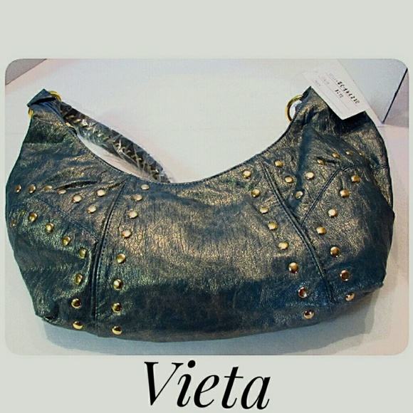 Vieta Handbags - Vieta Blue Green Gold Shoulder Style Hobo Bag