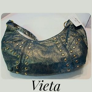Vieta Hobo Shoulder Bag Blue Gold