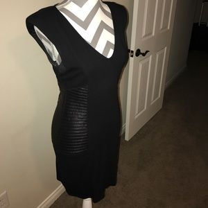 BeBe Black Dress with leather look on sides Med.