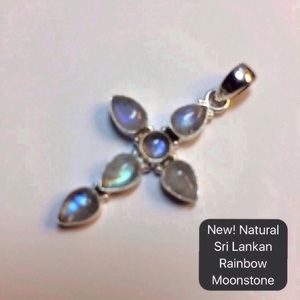 🔥New! Sri Lankan Rainbow Moonstone .925 Cross