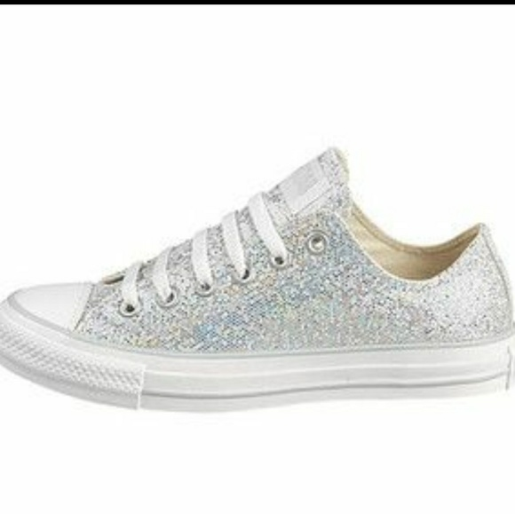 white sparkly converse shoes