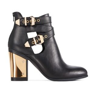 Just Fab black and gold buckle booties