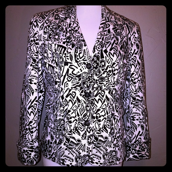 Sag Harbor Jackets & Blazers - Black white floral dressy jacket blazer