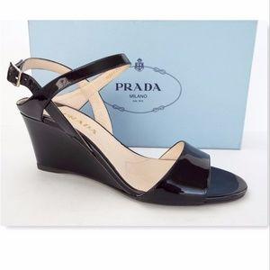New PRADA Size 8 Black Patent Leather Wedge Sandal