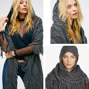 Free People Grey Cable Fringe Hooded Scarf