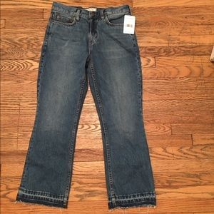NWT FREE PEOPLE STONE BLUE CROP FLARE JEANS 26