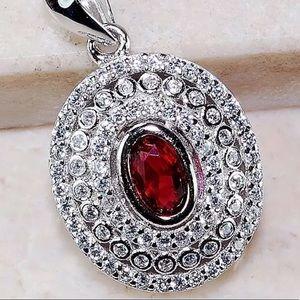 2ctw Ruby & white topaz 925SS pendant & chain