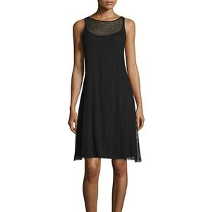 Eileen Fisher Sheer Hemp Black Dress