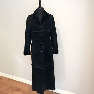 EXPRESS Suede Leather Faux Shearling Long Coat EUC