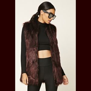 Dark Burgundy Faux Fur vest