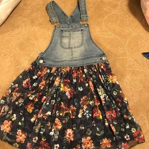 Floral denim overall dress