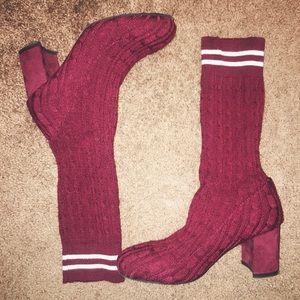 Burgundy Heeled Boots