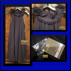 Taylor  Pleated Empire Sheer Swing Cocktail Dress