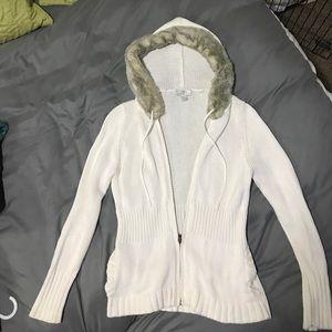 Ann Taylor Loft Faux Fur Hooded Sweater Cardigan