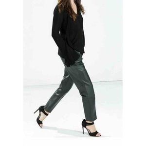 Zara Green Leather pants