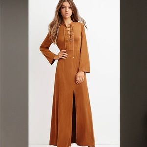 1970s suede maxi dress trend
