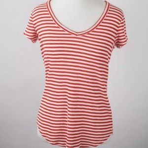 Madewell cotton red white striped tee SMALL shirt